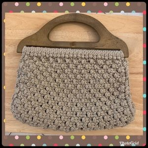 """Woven Brown Purse With Wood Handles  13""""x13"""""""